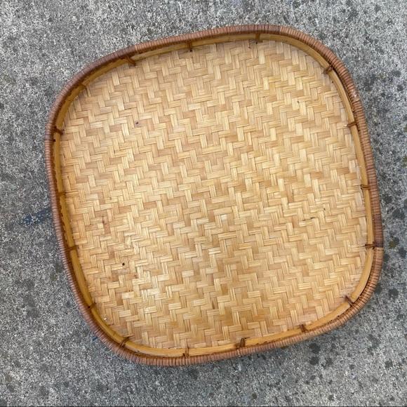 Large Flat Wicker Woven Basket Tray
